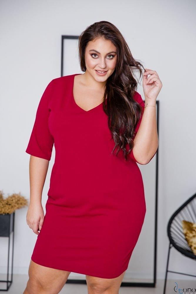 Bordowa Sukienka AZURRA Plus Size