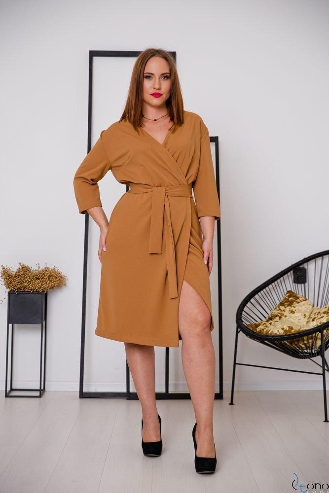 Camelowa Sukienka MAVITA Plus Size