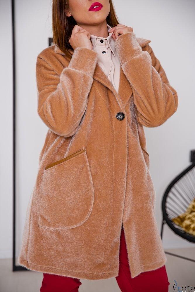 Camelowy Płaszcz BARIOSA Plus Size
