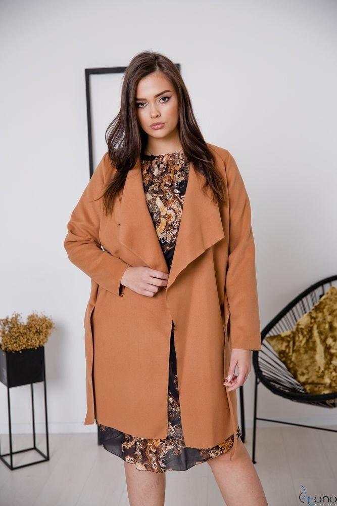 Camelowy Płaszcz TARDOR Plus Size