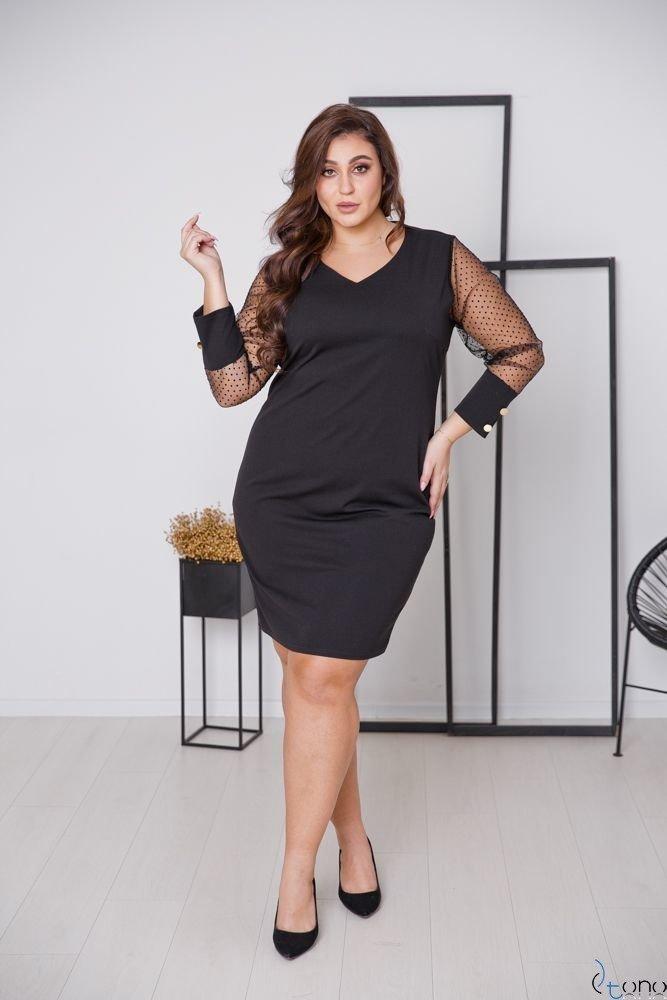 Czarna Sukienka BOFFINA Plus Size Wzór 1