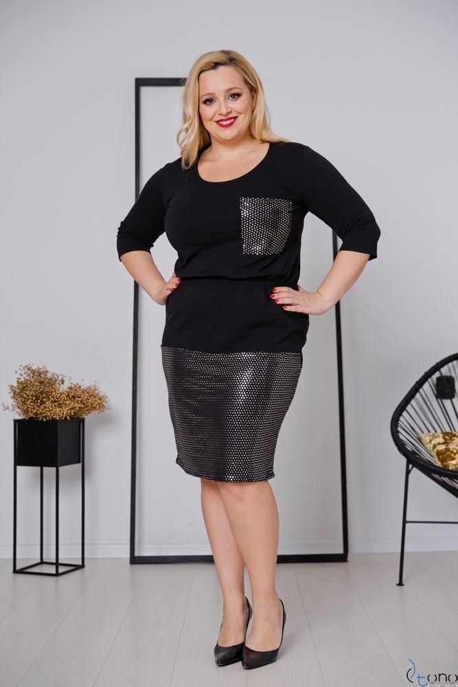 Czarna Sukienka GRASSINA Plus Size