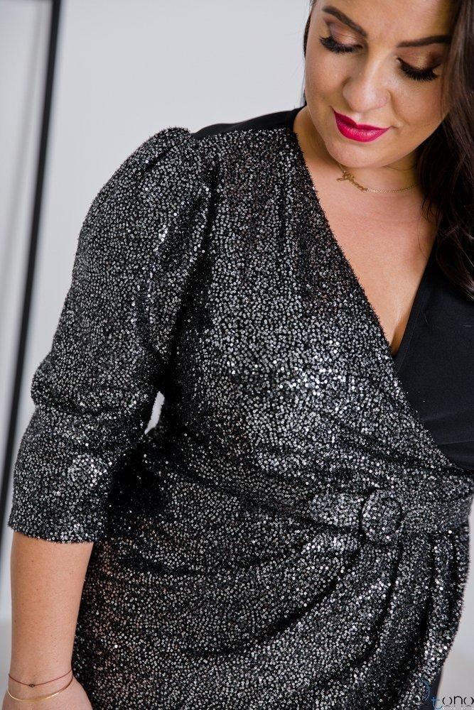 Czarna Sukienka VETREO Plus Size