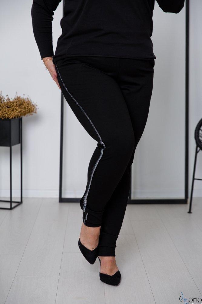 Czarno-Srebrne Spodnie LAVICCA Plus Size