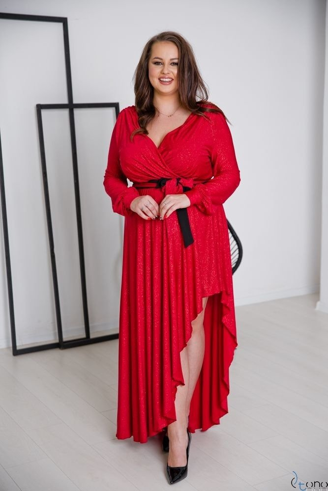 Czerwona Sukienka  RIVOLI Plus Size