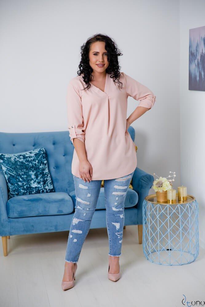 Pudrowo-różowa Bluzka JUSTIN Plus Size