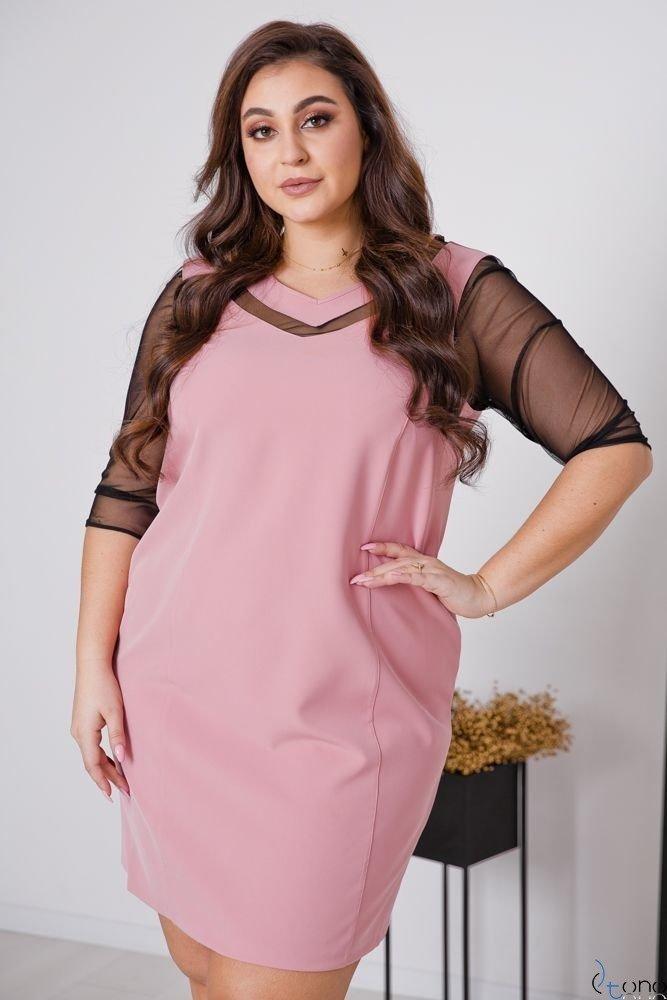 Różowa Sukienka AUGURA Plus Size