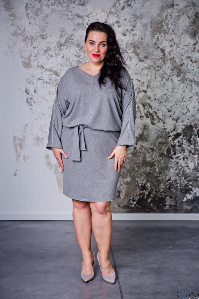 Szara Sukienka DRILL Plus Size