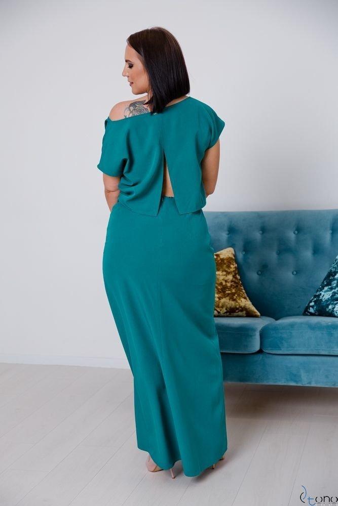 Turkusowa Sukienka PRIMMA Wizytowa Plus Size