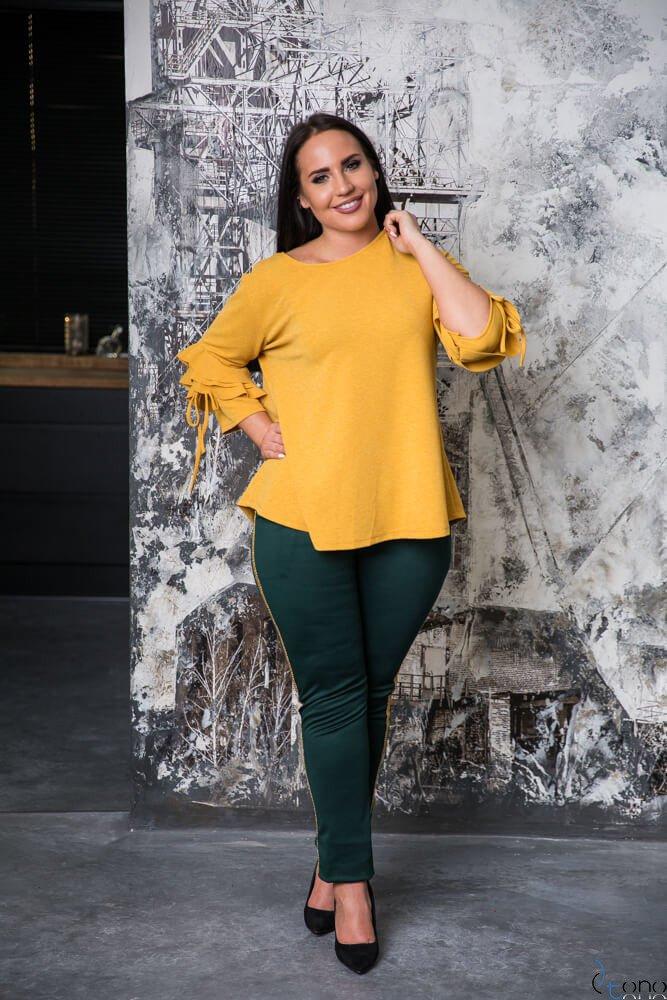 Zielono-złote Spodnie PAESTRA Plus Size