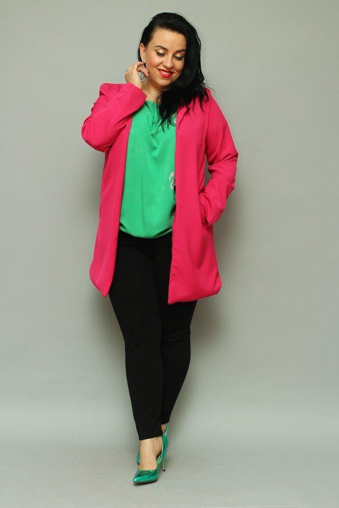 Amarantowy Płaszcz damski LUKKA Plus Size Kardigan