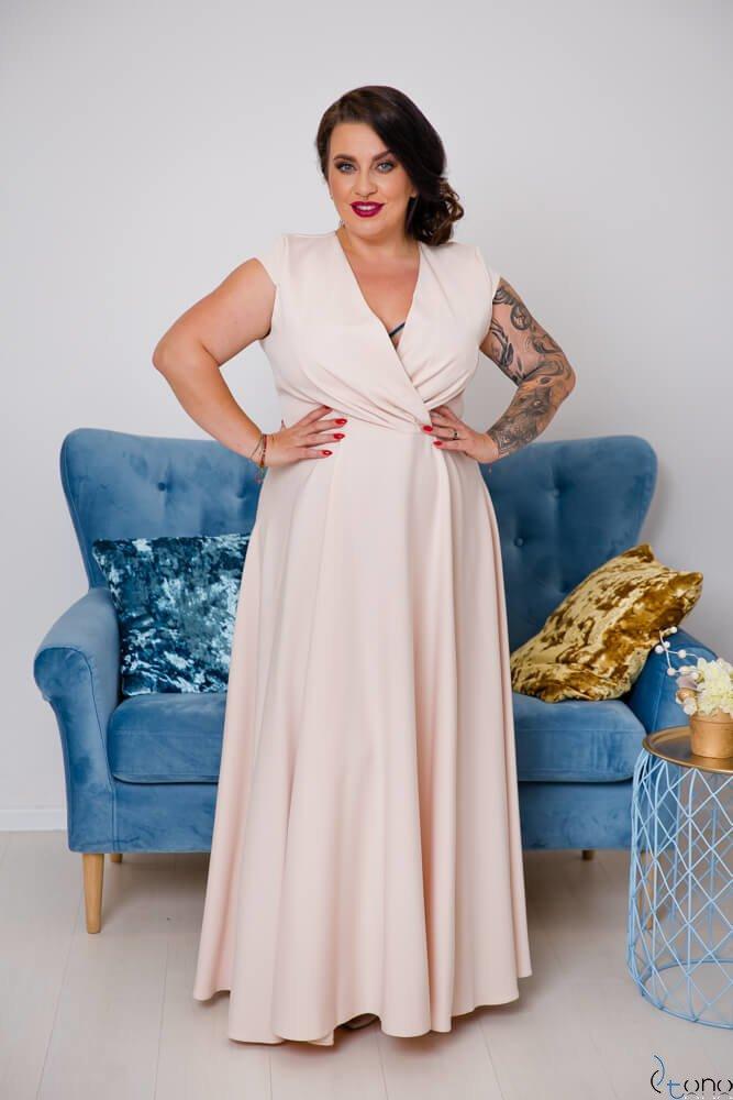 Beżowa Sukienka LOREDANA Plus Size