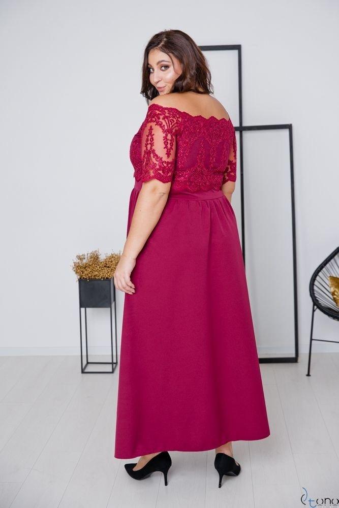 Bordowa Sukienka VITTORIA Plus Size