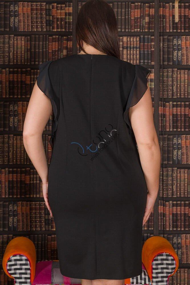 Czarna Sukienka ANETT Ołówkowa Plus Size