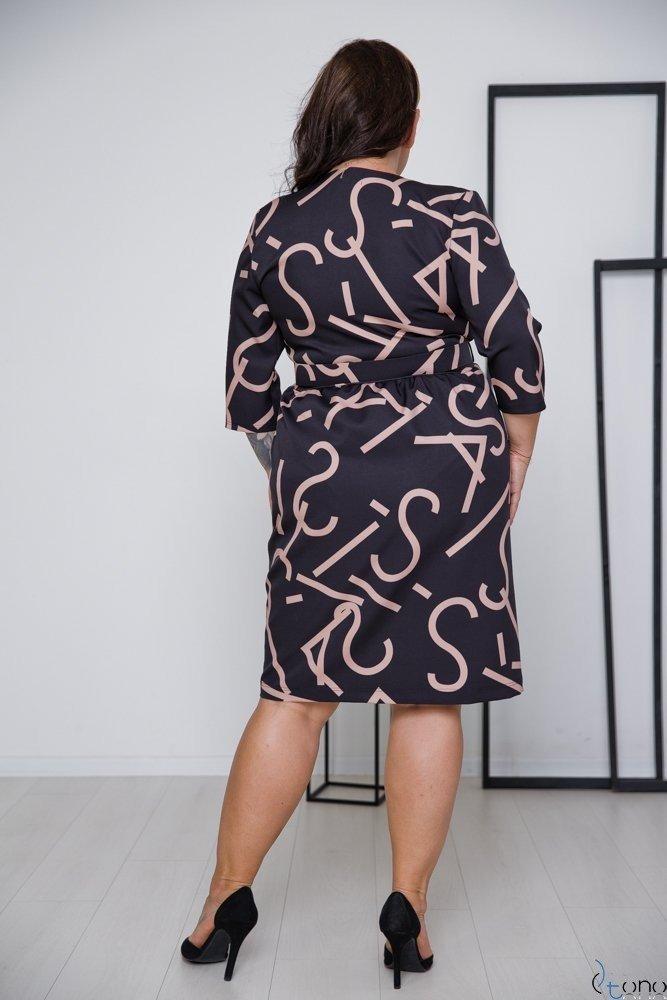 Czarno-Beżowa Sukienka AURESIA Plus Size