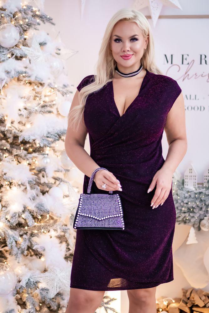 Czarno-amarantowa Sukienka VENGA Plus Size