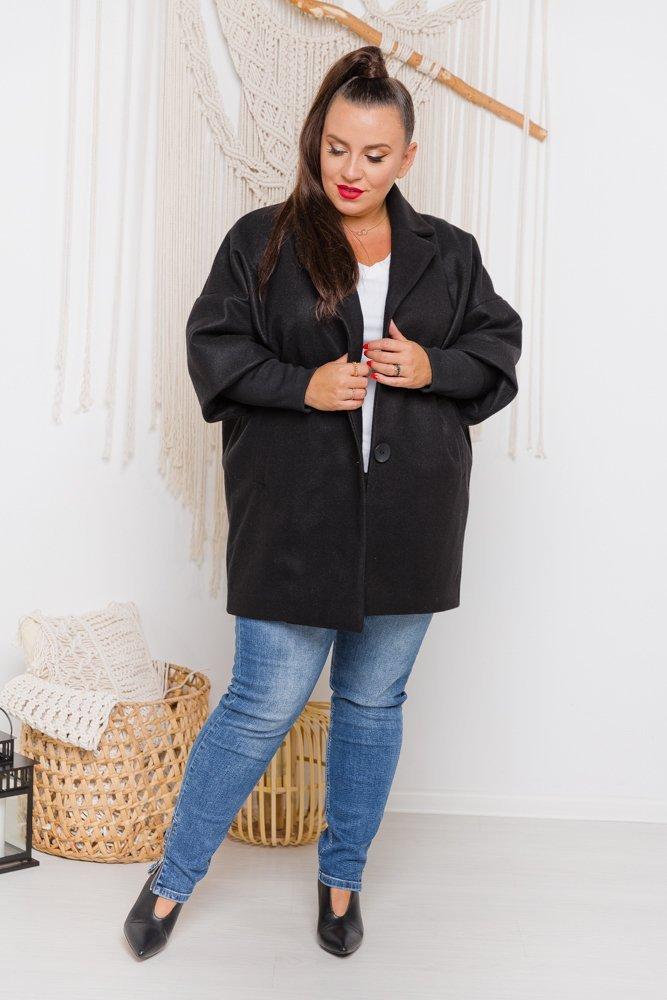 Czarny Płaszcz VINDENA Plus Size