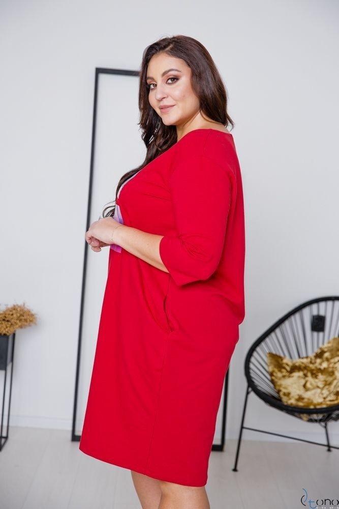 Czerwona Sukienka ELIA Plus Size