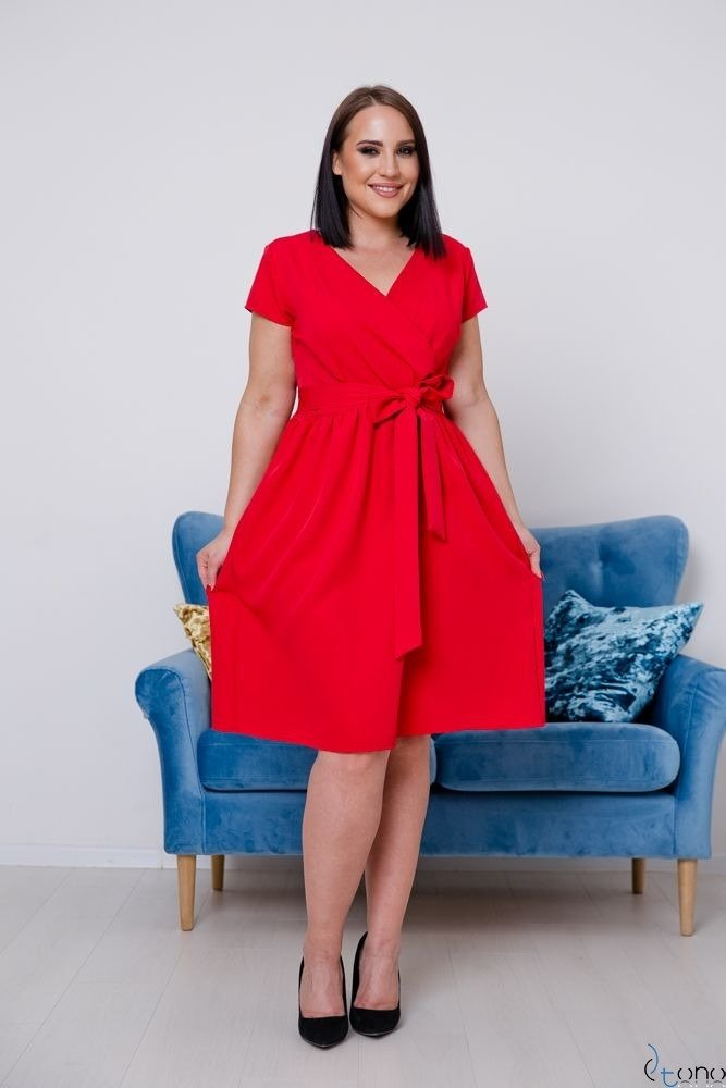 Czerwona Sukienka MACARIS Plus Size