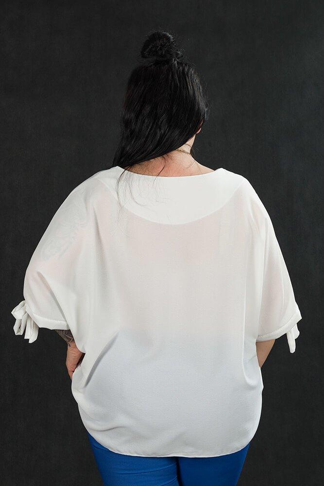 Ecru BOW bluzka damska oversize plus size