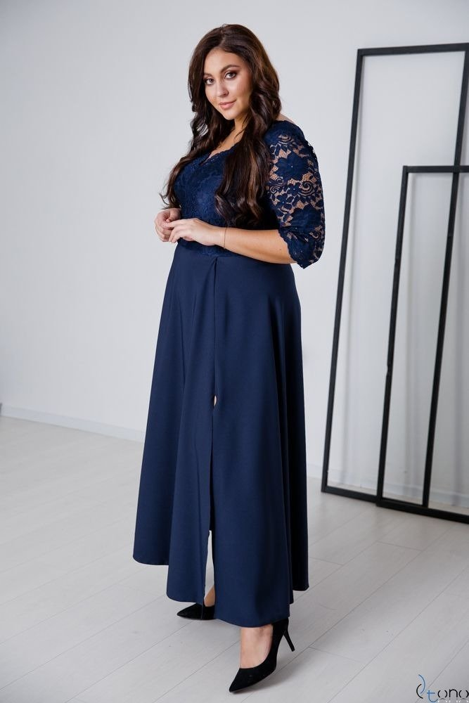 Granatowa Sukienka ELIZ Plus Size