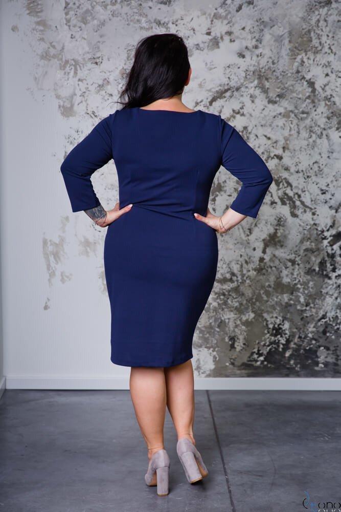 Granatowa Sukienka EMYLY Plus Size