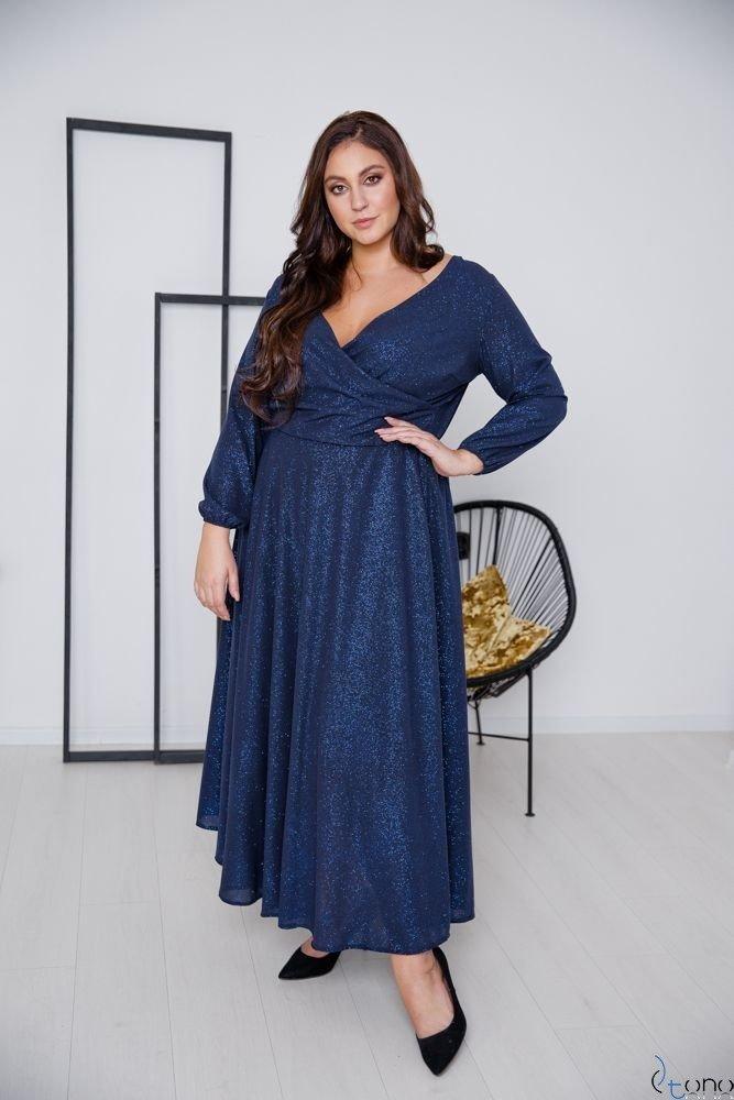 Granatowa Sukienka LUMISSA Plus Size