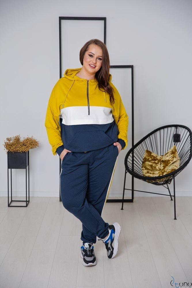 Granatowo-żółty Dres TRIPLE Plus Size