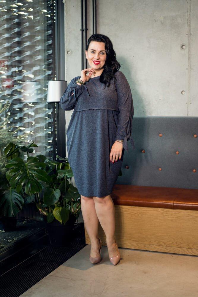 Jeansowa Sukienka  RATELA Tuba Odcinana Duże rozmiary