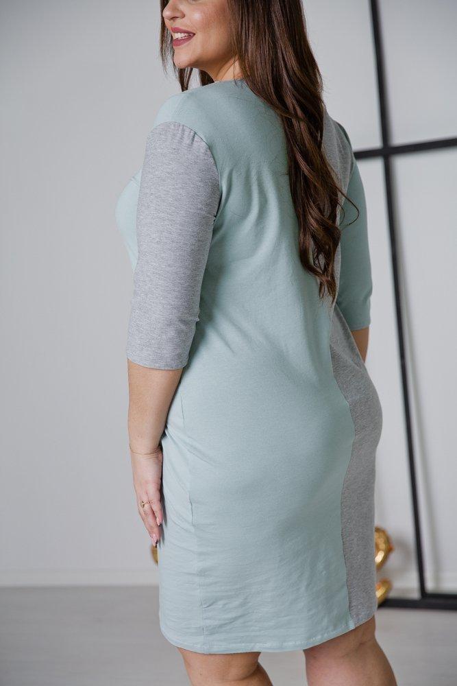 Szaro-niebieska Sukienka HALFIE Plus Size