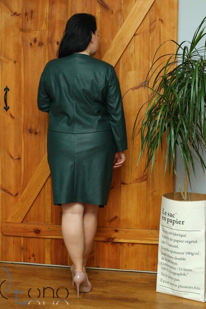 Zielony Komplet DESMA Garsonka damska Plus Size Eko Skóra